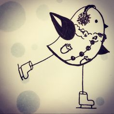 Illustration l'oiseau et le patinage - Amandine Barry - Créatrice d'émotions