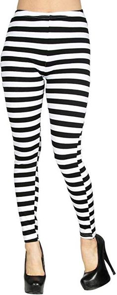 7286650e9cb5 Simplicity Women's Soft Black White Horizontal Striped Leggings w/Back  Pockets at Amazon Women's Clothing store: