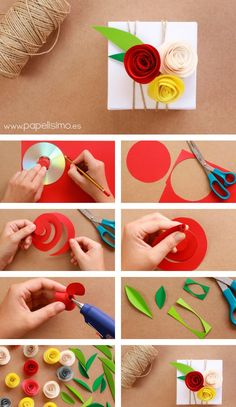 ▷ ideas on how to make a creative gift box- ▷ 1001 + Ideen, wie Sie eine kreative Geschenkbox basteln Fold rectangular box, make paper roses yourself, cut out a circle, make paper flowers - Paper Gift Box, Paper Gifts, Diy Paper, Paper Craft, Cardboard Crafts, Paper Flowers Diy, Flower Crafts, Fabric Flowers, Potted Flowers