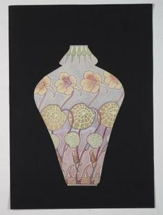 [Design drawing for vase with lily pad and floral motif] [art original] by Cristalleries du Val-Saint-Lambert Seraing, 1879-1946 | Corning Museum of Glass