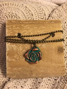 Vintage inspired Boho Chic Rose necklace. Available in the Krusen Creations Etsy shop. $15 with free shipping.