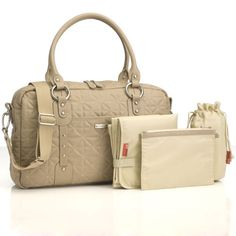 da6bf335f5613 Elizabeth Quilted Leather Shoulder Sak in Fawn from PoshTots Baby Changing  Bags, Changing Mat,