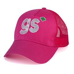 TRUCKER HAT $19.00 #11079 Head for a glittering hot pink look! This striking hat with mesh panels, adjustable back strap and sparkling Girl Scout Shorthand. Polyester canvas.