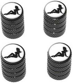 """Amazon.com : (4 Count) Cool and Custom """"Diamond Etching Sexy Mudflap Girl Top with Easy Grip Texture"""" Tire Wheel Rim Air Valve Stem Dust Cap Seal Made of Genuine Anodized Aluminum Metal {Slate Ferrari Black and White Colors - Hard Metal Internal Threads for Easy Application - Rust Proof - Fits For Most Cars, Trucks, SUV, RV, ATV, UTV, Motorcycle, Bicycles} : Sports & Outdoors"""