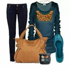 Amazing Pant, blue dress, brown handbag and shoes for fall