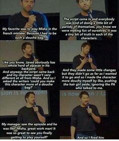 "Heh. Misha on being 'Misha' in ""The French Mistake."" 