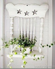 Shabby Chic Decor using a chair back to place a plant on or whatever you wish to put there >>>>>>.