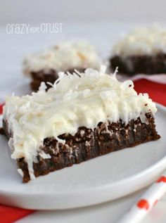 Fudgy Brownies with Coconut Frosting  by www.crazyforcrust.com | Full of rich chocolate flavor and topped with a coconut frosting