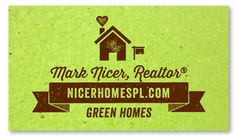 Seeded Paper Business Cards for Realtors ~ Green Realtors by Green Business Print - The house and mailbox are super cute and sure to bring more business!