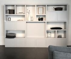Modus cupboard, a nice sleek wall cupboard that is available to measure. Living Room Wall Units, Living Room Shelves, Dining Room Walls, Living Room Interior, Home Living Room, Home Command Center, Shelving Design, Small Home Offices, Home Office Decor