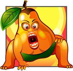 set of funny cartoon fruit design vector