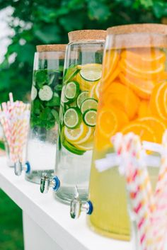 Citrus and fruit flavored water drink idea for an outdoor wedding reception.