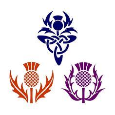 Scottish Symbols, Celtic Symbols, Celtic Art, Scottish Clans, Scottish Thistle Tattoo, Scottish Tattoos, Celtic Patterns, Celtic Designs, Folk Art Flowers