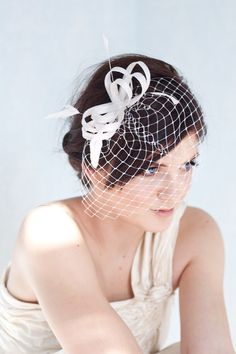 Bridal fascinator with french veil and feathers, bridal millinery headpiece, feather fascinator via Etsy
