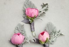 Pink and Grey Wedding Details. Love these bouts!   www.riley-jane.com