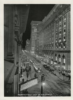Scenes of downtown from Cincinnati at Night, published in 1915.