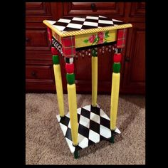 Whimsical Painted Furniture, Whimsical Painted Table // Whimsical Painted Furniture // Alice in wonderland furniture hand painted home decor Art Furniture, Whimsical Painted Furniture, Funky Furniture, Colorful Furniture, Repurposed Furniture, Furniture Makeover, Furniture Stores, Office Furniture, Refurbished Furniture