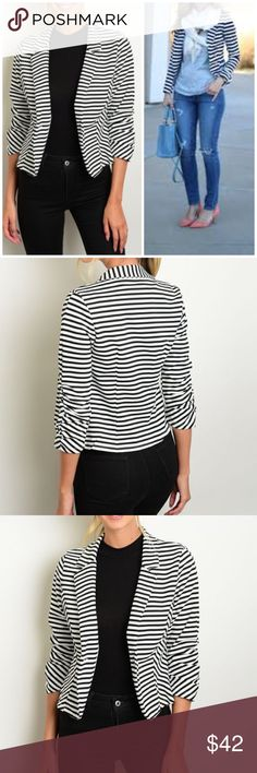 """⚡️Closing Sale ⚡️Striped Black and White Blazer 3/4 sleeve striped black and white blazer. Style it with your favorite jeans or pants!  Measurements for small: L: 23"""" B: 36"""" W: 32"""" Made of Poly/spandex blend. NO TRADES Boutique Jackets & Coats Blazers"""