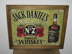 Framed Vintage Style Tin Sign, Jack Daniel's No & whiskey , bar decor, man cave, USA, garage decor, wall hanging
