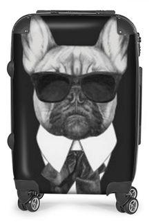 """Réf: 67178229-main-mode-dessinée-illustration-de-bouledogue-français - Prix 250€ valise à roulettes #valise""""àroulettes#vecteur#motif#imprimé#chien#canin#dog#race#cadeau#original#personnalisé#chihuahua#akita#americain#bouledogue#français#black#white#glass#karl#mode#fashion#"""
