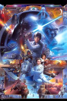 Amazon.com - Star Wars Movie (Saga Collage) Poster Print - Luke Skywalker Poster