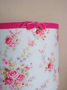 pink velvet ribbon trim with bow on a lampshade - so cute!