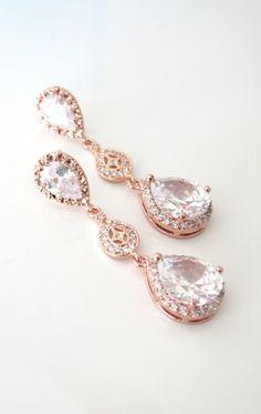 Rose Gold Luxe Cubic Zirconia Teardrop Earring, bridal gifts, drop, dangle, rose gold wedding, blush, bridesmaid earrings