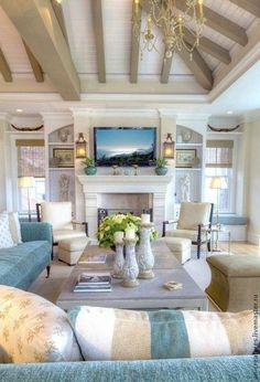 25 Chic Beach House Interior Design Ideas Spotted On inside Beach Home Decor Cottage Living Rooms, Coastal Living Rooms, Home And Living, Cottage Interiors, Beach House Interiors, Bedroom Interiors, Coastal Bedrooms, Kitchen Living, Apartment Living