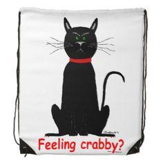 Black Cat Backpack   Crabby, grouchy black cat on string backpack! drawstring bag