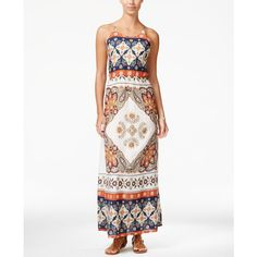 Roxy Juniors' Summer Fleet Printed Maxi Dress (905 ZAR) ❤ liked on Polyvore featuring dresses, natural, summer maxi dresses, spaghetti strap summer dress, roxy dress, maxi dress and spaghetti strap maxi dress