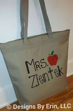 Glittered Apple Teacher Tote by DesignsByErin13 on Etsy https://www.etsy.com/listing/251357694/glittered-apple-teacher-tote