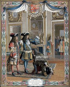 Louis XIV proclaiming duc d'Anjou King of Spain, War of Succession, (1700) 19th century. Chromolithograph.
