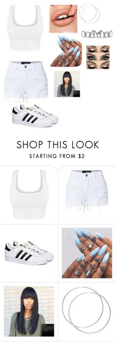 """""""white on white"""" by teebaby830 ❤ liked on Polyvore featuring LE3NO and adidas"""