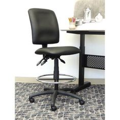 Boss Office Products Leather Drafting Chair, Black