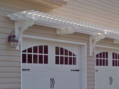 The pergola kits are the easiest and quickest way to build a garden pergola. There are lots of do it yourself pergola kits available to you so that anyone could easily put them together to construct a new structure at their backyard. Garage Door Colors, Garage Door Design, Garage House, House Front, Porch Over Garage, Car Garage, Garage Shop, Door Arbor, Garage Trellis