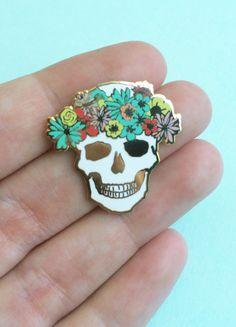 flower crown skull pin hard enamel brooch