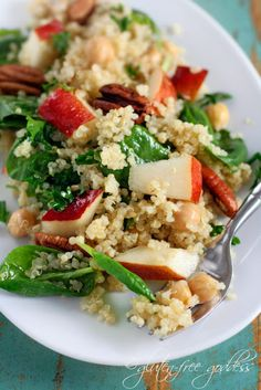 Quinoa salad with pears, baby spinach, and chick peas in a maple vinaigrette