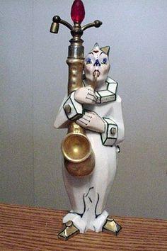"10"" Aladin Porcelain Figural Perfume Bottle Atomizer French"