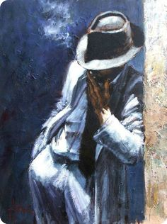 Fabian Perez Man in white suit oil painting for sale; Select your favorite Fabian Perez Man in white suit painting on canvas or frame at discount price. Original Oil Painting, American Art, Pulp Art, Fabian Perez, Painting, Blue Painting, Giclee Art Print, Art, Original Art Painting