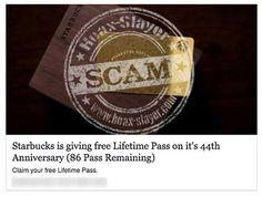 Starbucks 'Free Lifetime Pass' Facebook Scam