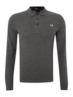 Fred Perry long sleeved graphite polo shirt