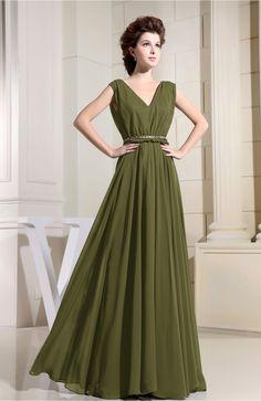 Olive Green Bridesmaid Dress - Casual V-neck Sleeveless Chiffon Pleated
