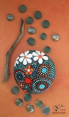 Hand Painted River Rock Art - Natural Home Decor - One-of-a-Kind Gift1