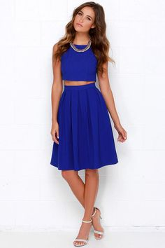 Splendidly Spry Royal Blue Two-Piece Midi Dress at Lulus.com!