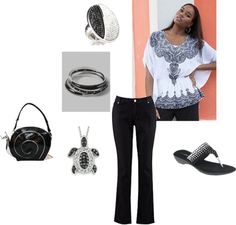 """Black and White with a Super Cool Snail Bag - Plus Size"" by intcon on Polyvore"