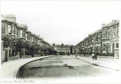 Reservoir Road was laid out in the 1880s as part of the Haberdashers' Company development of their New Cross estate between 1875 and 1900. The reservoir itself was, in fact, on the neighbouring Jerningham Road. A curiosity of the houses on the left lies in the irregular line of the rear back garden fences, which follows a field boundary based on the ancient Surrey/Kent county boundary.