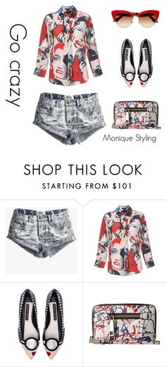 """""""Jean shorts - eccentric personality styling"""" by monicazelin on Polyvore featuring One Teaspoon, Marc Jacobs, Alice + Olivia and Dolce&Gabbana"""