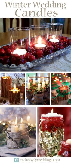 Winter Wedding Candles - Even though candles can work just fine all year long, in winter they are especially lovely.