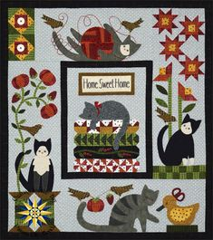 Purrfectly Pieced is a fun new block of the month designed by Bonnie Sullivan that combines simple applique, hand embroidery, and easy piecing.  This five month block of the month has five helpful kitties and their little birdie friends. Each month you will be sent a pattern and the fabrics you need to complete a portion of the quilt. The fabrics used in the quilt are all super soft Maywood Woolie and Shadowplay Flannels
