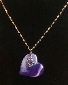 DIY necklace. Polymer clay heart pendant, adorned with heart-shaped drop.